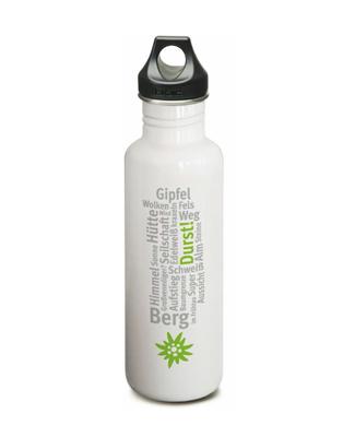 DAV Trinkflasche Klean Kanteen, gletscherweiß mit Aufdruck
