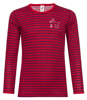 Kinder Langarm-Shirt, geringelt: Kirschrot/Orchidee title=