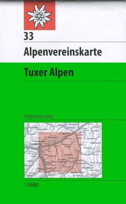33 Tuxer Alpen, 1:50.000