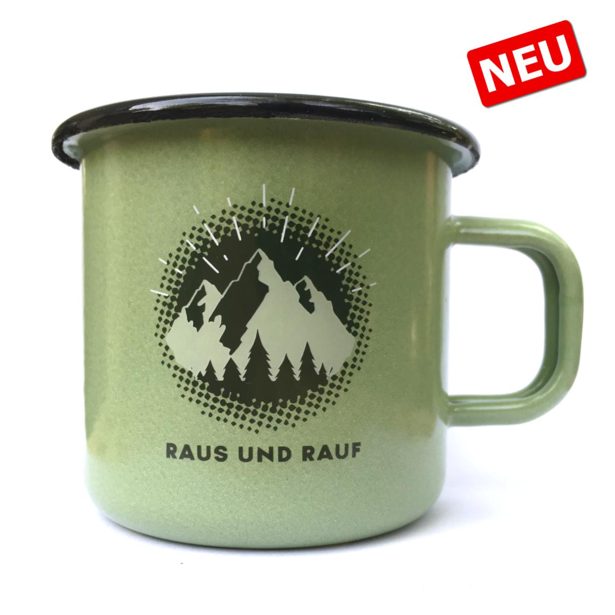 """DAV Emaille-Becher """"Raus & Rauf"""""""