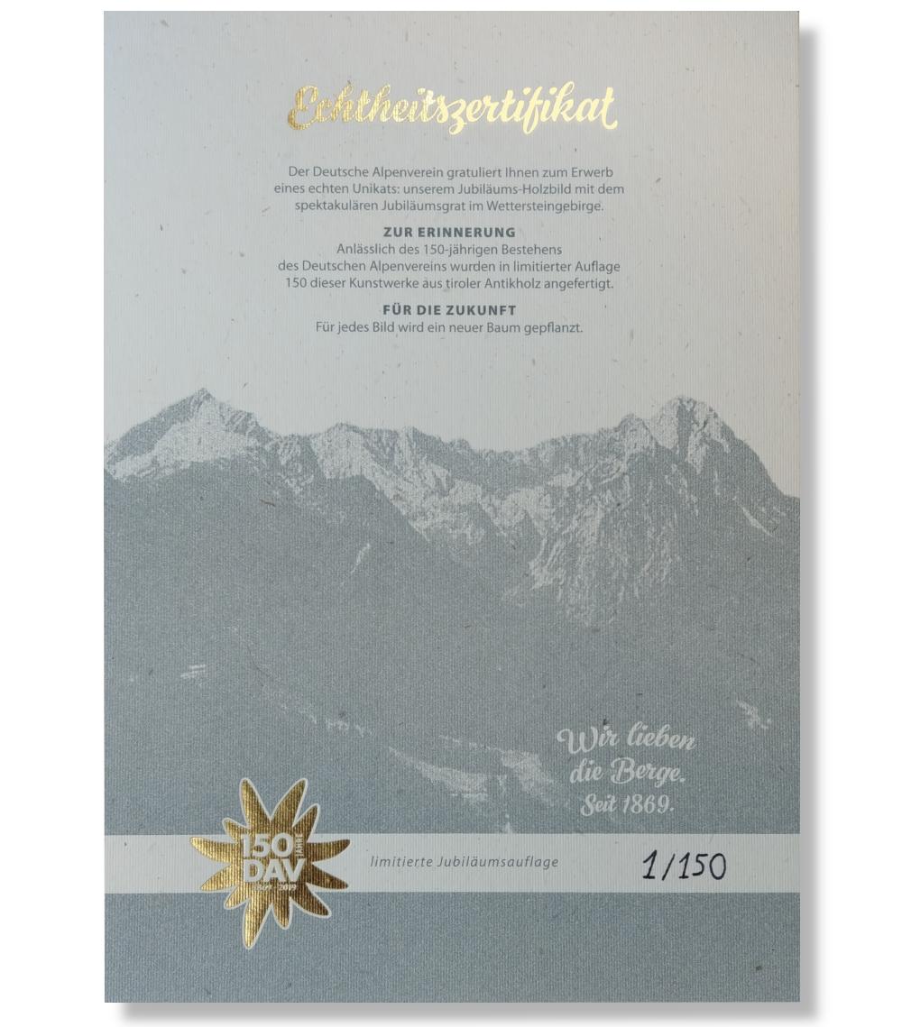 """VAERTICAL Jubiläumsgrat """"DAV Jubiläums Edition"""" Holzbild"""